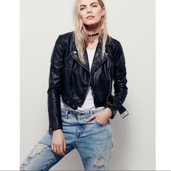 6259c6eec Free People cropped vegan leather Moto jacket